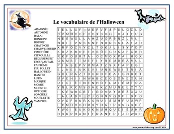 Le vocabulaire de l'Halloween-French Halloween Word Search Plus