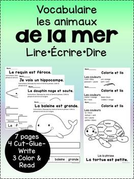 Le vocabulaire de l'aquarium {French aquarium vocabulary pages}