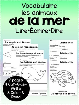 Le vocabulaire de l'aquarium {French aquarium vocabulary pages}