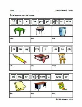 Le vocabulaire de l'école