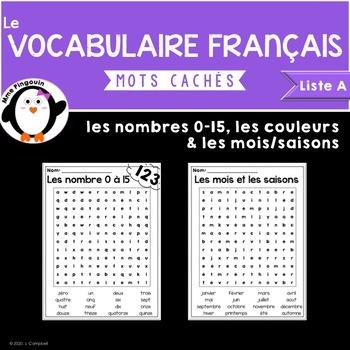 Le vocabulaire français (Liste A) - les mots cachés {FRENCH}
