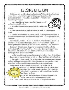 Le zèbre et le lion - A fable in simple French