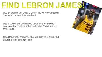 LeBron James Day 6th grade math scavenger hunt