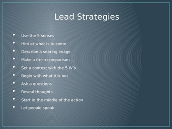 Lead Strategies for Personal Narratives