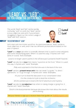 """""""Lead"""" vs. """"Led"""": Do You Know the Difference"""