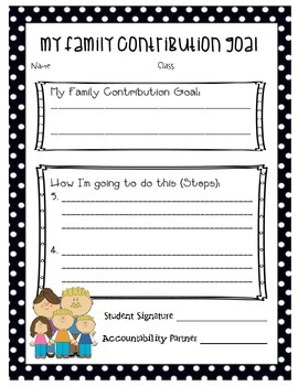 Leader Academic, Personal, Family Contribution Goal Sheets