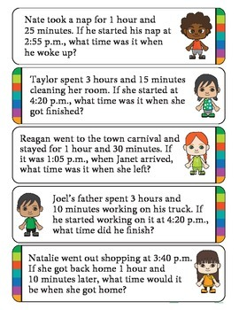 Elapsed Time Math Word Problems