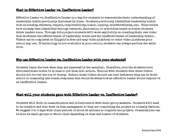 Leader Traits Effective and Ineffective Activity