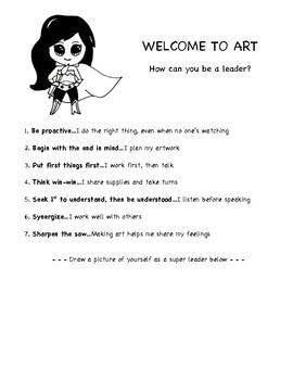 Leader in Me 7 Habits in the Art Room. Elementary Art Handout.