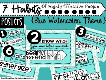 7 Habits Posters (Blue Watercolor)