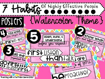 7 Habits Posters (Pink Watercolor)
