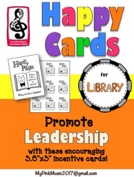 Leadership Incentive cards for LIBRARY, READING or WRITING CLASSES- HAPPY PAGE