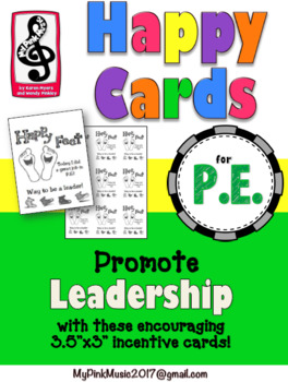 Leadership Incentive cards for PE or SPORTS- HAPPY FEET!