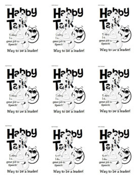 Leadership incentives for SPEECH students- HAPPY TALK Cards