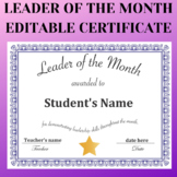 Leader of the Month editable PDF certificate. perfect for Distance Learning!
