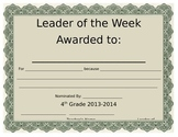 Leader of the Week Certificate
