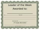Leader of the Week Certificate