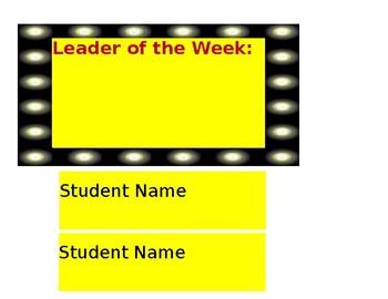 Leader of the Week Display-Hollywood Style