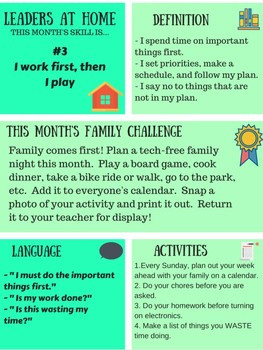 Leaders At Home Newsletter and Challenge: skill #3 I work first, then I play