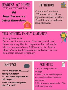 Leaders At Home Newsletter and Challenge: skill #6 Together We Are Better