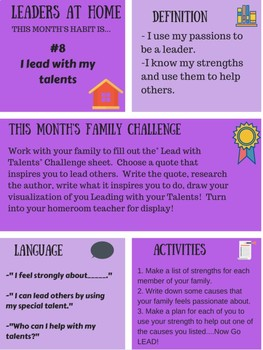 Leaders At Home Newsletter and Challenge: skill #8 I Lead With My Talents