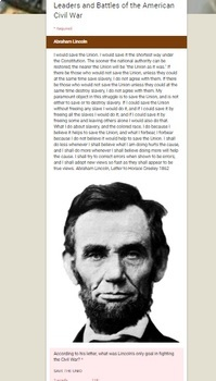 Leaders and Battles of the Civil War Digital Break Out DBQ Activity