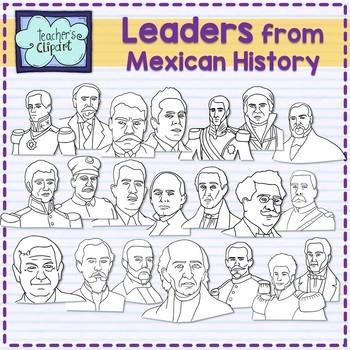 Leaders from Mexican History - Líderes de la historia Mexicana Clipart