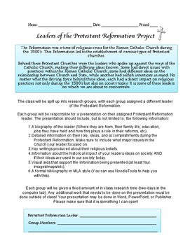 Leaders of the Protestant Reformation Project