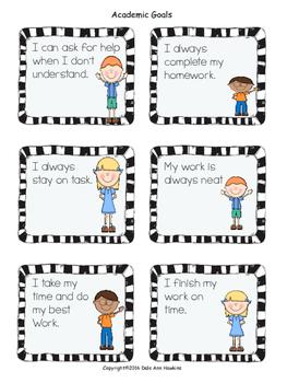 Leadership & Academic Goal Setting Cards 2nd Grade