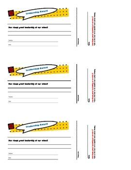 Leadership Award Certificates