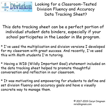 Leadership Binder Division Fluency and Accuracy Tracking