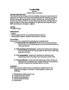 Leadership Class Description for Class Catalog
