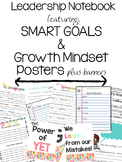 Leadership/Data Notebook with SMART goals! and Mindset Posters and banner