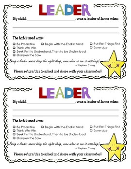 Leadership Family Information Handouts--Home Activities and Brochure