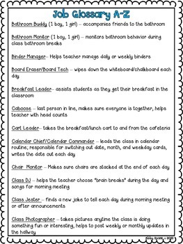 Leadership Jobs for Elementary Classrooms {Brown Dots}