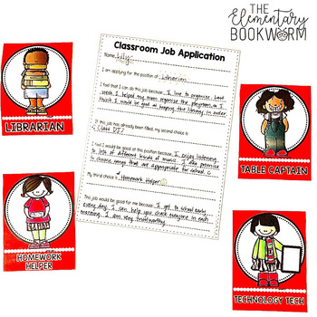 Leadership Jobs for Elementary Classrooms {Plain Red}