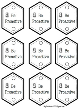 Leadership Pencil Toppers promoting 8 habits Black-line (preview has a freebie)