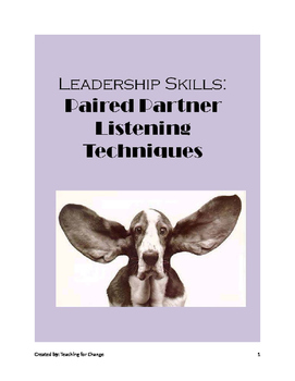 Leadership Skills: Learning Listening Skills through Paired Partner Techniques