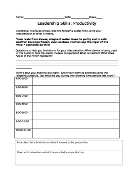 Leadership Skills: Time Management and Productivity Charting & Brainstorm