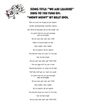 """Leadership Song to the tune of """"Mony Mony"""" by Billy Idol"""