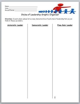 Leadership- Styles of Leadership Graphic Organizer