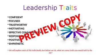 Leadership Traits Lesson for Junior High & HighSchool