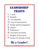 Leadership Traits Poster + Crossword Puzzle