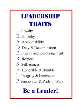 Leadership Traits Poster + Crossword Puzzle