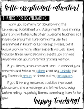 Leadership Worksheet and Assignment