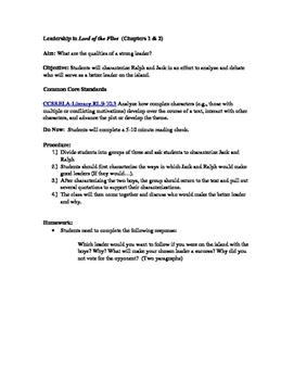Leadership in Lord of the Flies  (Chapters 1 & 2)