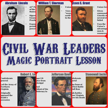 civil war leaders magic portrait lesson by students of history. Black Bedroom Furniture Sets. Home Design Ideas