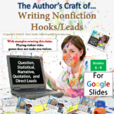 The Author's Craft of Writing Nonfiction Hooks/Leads for G