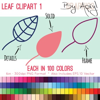 Leaf 1 Clip Art in 100 Colors PNG and Vector EPS Commercial Use