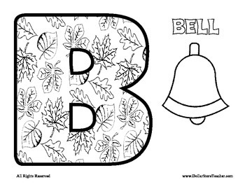 Leaf Alphabet Coloring Sheets - Fall Autumn Halloween Thanksgiving theme Letters